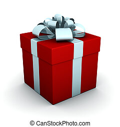 3d render of gift box on white background