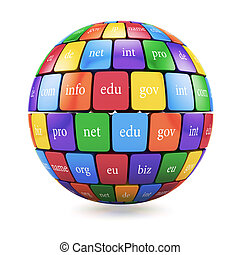 View of group color cubes in the sphere spape domain names
