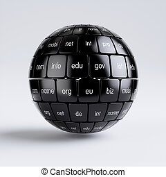 View of group black cubes in the sphere spape domain names