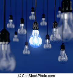 Ideas concept - 3d render of glowing light bulb. Ideas...