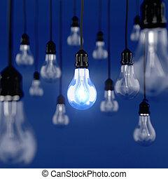 Ideas concept - 3d render of glowing light bulb. Ideas...