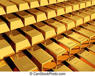 gold bars - 3d render of gold bars background