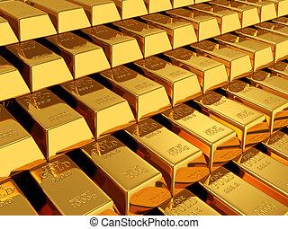 gold bars - 3d render of gold bars background