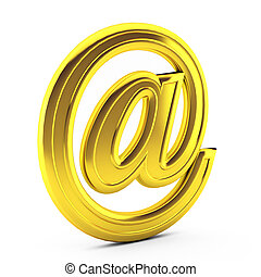 3d render of gold e mail on white
