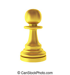 3d render of gold pawn