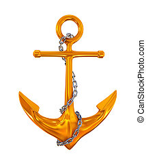 3d render of golden anchor with steel chrome link chain