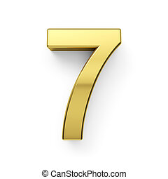 3d render of golden digit simbol - 7. Isolated on white background