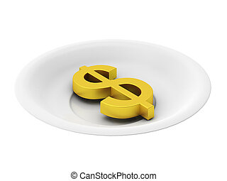 3d render of golden dollar on plate on white background