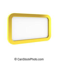 3d render of golden frame on white