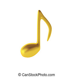 3d render of golden music note