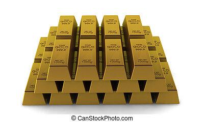 3d render of golden stack