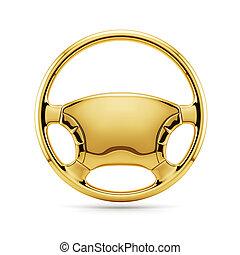golden steering wheel - 3d render of golden steering wheel...