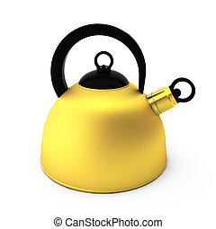 3d render of golden teapot on white background