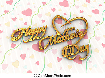 3d render of golden text happy mother's day