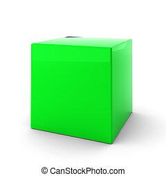 3d render of green cube on white