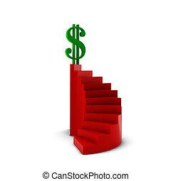 3d render of green dollar on red ledder