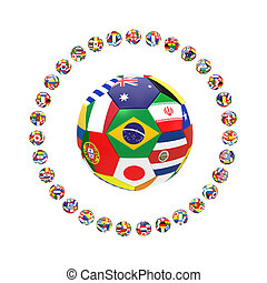 3D render of group of football on white background