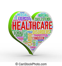 3d render of heart shape healthcare wordcloud tag