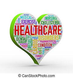 3d render of heart shape healthcare wordcloud tag