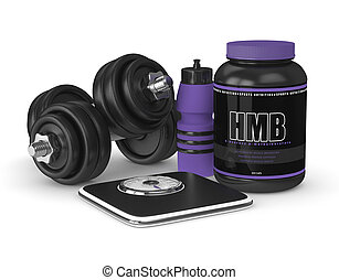 3d render of HMB container with gym tools