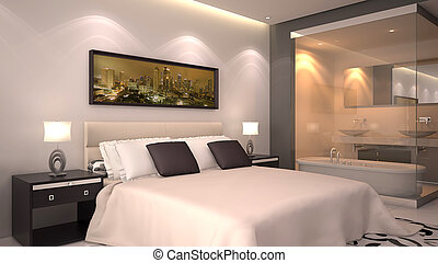 3d Render of Hotel Room - bright modern interior of hotel ...