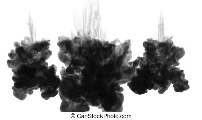 3d render of inky injections into water with luma matte....