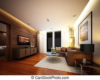 3d render of interior living room
