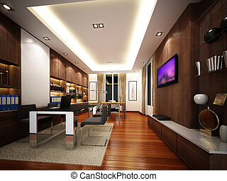 3d render of interior working room,