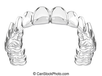 3d render of invisalign removable and invisible vacuum formed retainer over white background.