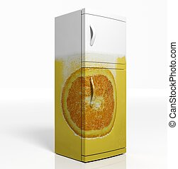 3D render of large refrigerator with orange isolated