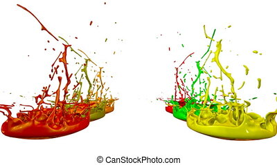 3d render of liquid splash on jar like paint on sound speaker. colorful 3d composition with dancing liquid. Warm shades 2
