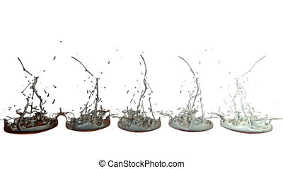 3d render of liquid splash on jar like paint on sound speaker. colorful 3d composition with dancing liquid. Gray shades 1