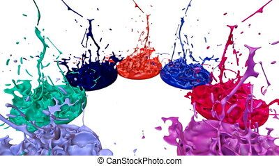 3d render of liquid splash on jar like paint on sound speaker. colorful 3d composition with dancing liquid. multicolor version 8
