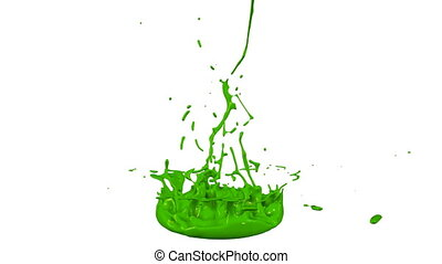 3d render of liquid splash on jar like paint on sound speaker. colorful 3d composition with dancing liquid. Green 2