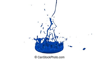 3d render of liquid splash on jar like paint on sound speaker. colorful 3d composition with dancing liquid. Blue 1