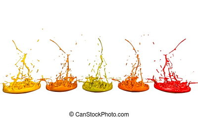 3d render of liquid splash on jar like paint on sound speaker. colorful 3d composition with dancing liquid. Warm shades 4