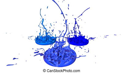 3d render of liquid splash on jar like paint on sound speaker. colorful 3d composition with dancing liquid. cold shades 2