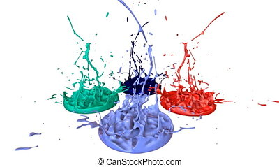 3d render of liquid splash on jar like paint on sound speaker. colorful 3d composition with dancing liquid. multicolor version 9