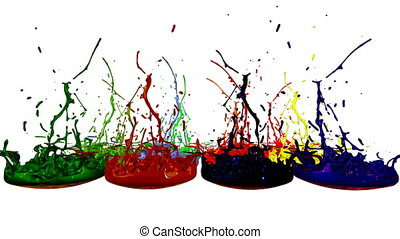 3d render of liquid splash on jar like paint on sound speaker. colorful 3d composition with dancing liquid. multicolor version 3