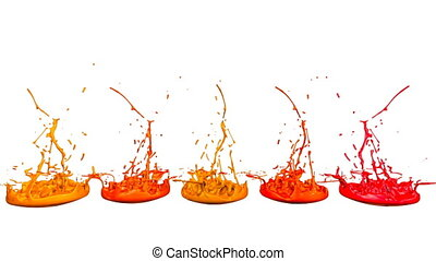 3d render of liquid splash on jar like paint on sound speaker. colorful 3d composition with dancing liquid. Warm shades 3