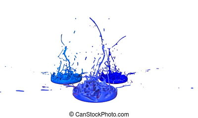 3d render of liquid splash on jar like paint on sound speaker. colorful 3d composition with paint. juicy bright liquid composition. Blue shades 3