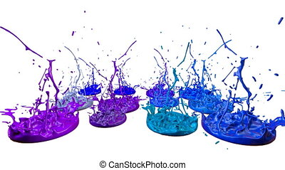 3d render of liquid splash on jar like paint on sound speaker. colorful 3d composition with paint. juicy bright liquid composition. Blue shades 6