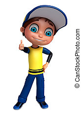 3D Render of Little boy thumbs up pose