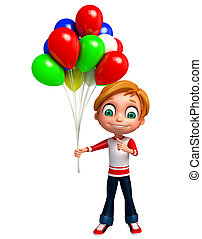 3D Render of Little boy with baloon