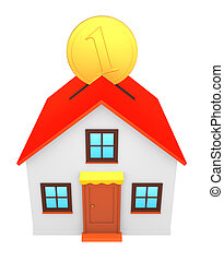 3D render of little house with coin - isolated on white background