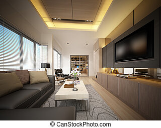 3d render of living room interior