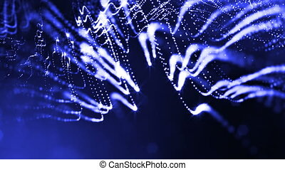 3d render of luminous particles as science fiction background or modern abstract blue background of particles with depth of field and bokeh like vj loop. Particles form line and string structure. 4