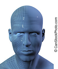 3D render of males head with wireframe on half - 3D render...