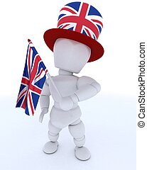 Man in Union Jack Hat with Flag - 3D render of Man in Union...
