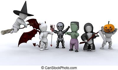 men in halloween party outfits - 3D render of men in...